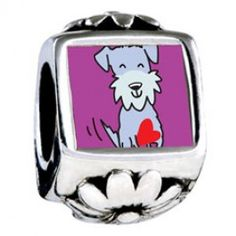 Schnauzer Dog European Charms  Fit pandora,trollbeads,chamilia,biagi and any customized bracelet/necklaces. #Jewelry #Fashion #Silver# handcraft #DIY #Accessory