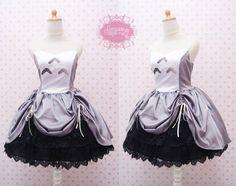 Belle robe sans manches de Totoro avec brocart noir ajustable jupe - robe d