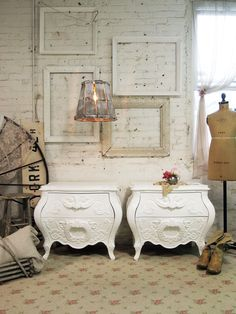 Painted Cottage Chic Shabby White Pair of by paintedcottages, $590.00
