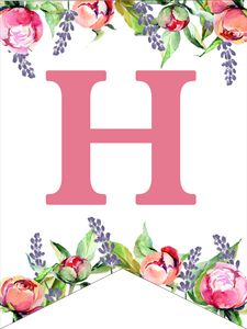 Make a personalized flower banner message fora birthday party, baby shower, or wedding. Alphabet Letters To Print, Free Printable Alphabet Letters, Flower Alphabet, Alphabet Stencils, Design Alphabet, Happy Birthday Banner Printable, Diy Birthday Banner, Free Printable Banner, Birthday Letters