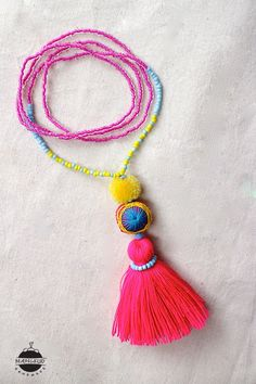 Tassel Beads NECKLACE w Pom pom stones hand by MangkudHandmade