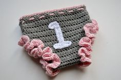 Toddler Baby Girl One Year Old Birthday Outfit Cake Smash Photography Prop Crochet diaper Cover by unRaveledCrochet
