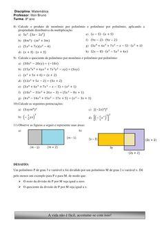2ª lista de exerc(monomios e polinômios) 8º ano   ilton bruno