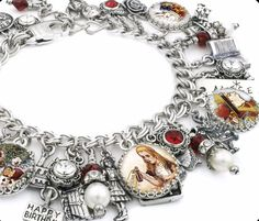 Alice in Wonderland Charm Bracelet, Alice in Wonderland Jewelry, Mad Hatter Jewelry, White Rabbit Charm Bracelet - Blackberry Designs Jewelry