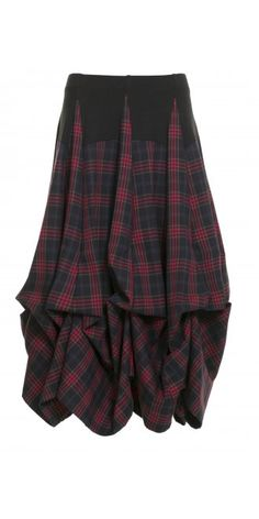 She's Crazy Navy and Red Tartan Tier Skirt