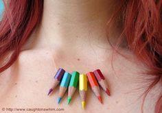 Ketting en oorbellen van kleurpotloden - Fimo- en ander creatief gefröbel