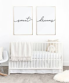 Above crib art/ set of 2 prints/ minimalist poster/ Above bed art/ above crib decor/ nursery print/ bedroom wall art/ Sweet Dreams print – Baby Room 2020 Baby Bedroom, Baby Room Decor, Nursery Room, Girl Nursery, Kids Bedroom, Nursery Decor, Kids Rooms, Nursery Prints, Baby Rooms