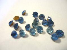 Vintage Glass Round Sapphire Blue colour by JEDJewellerySupplies, £2.49