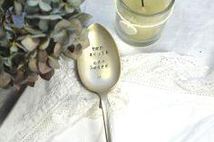 Pretty Little Silver - 'Two Souls One Heart' Personalised Hand Stamped Vintage Dessert Spoon £12 www.prettylittlesilver.co.uk