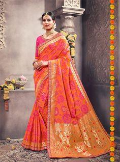 fea0fce8d13f8 Dazzling Orange Ikkat Themed Cotton Silk Saree