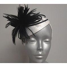 Women's Swan White/ Black Ribbon/ Feather Fascinator Hat