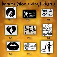 BEAUTY SALON vinyl decals - 91-99 - personalizable car window stickers - custom vinyl decals - car decal - car sticker