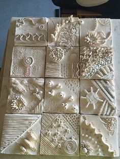 Slab Building with Handmade Texture with Sarah Pike - Ceramic Arts Network Ceramic Tile Art, Clay Tiles, Ceramic Clay, Ceramic Pottery, Clay Texture, Tiles Texture, Polymer Clay Crafts, Diy Clay, Clay Wall Art