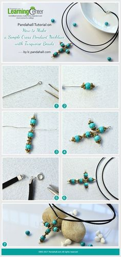 Pandahall Tutorial on How to Make a Simple Cross Pendant Necklace with Turquoise Beads from LC.Pandahall.com | Jewelry Making Tutorials & Tips 2 | Pinterest by Jersica