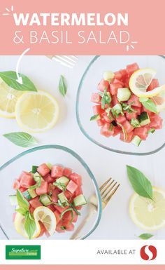 Mix up your summer salad with this unique and delicious Watermelon and Basil Salad! With robust flavors from the watermelon, cucumber, lemon juice, cayenne pepper and basil, this vibrant and colorful salad will quickly become a summer staple. The best part about this recipe? The light and bright seasonal colors, of course!