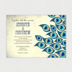 """Doing """"peacock"""" as a wedding color scheme or theme can quickly get gaudy and ridiculous - so these stylized feathers on invites are an artistic way of keeping it classy."""