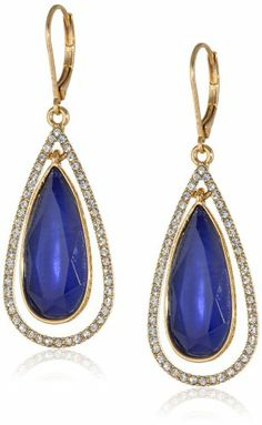 """Anne Klein """"Merry and Bright"""" Gold-Tone Pave Leverback Teardrop Earrings"""