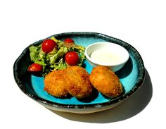 Crab Cakes, Jalapeno Mayo & Thai Salsa Salad - We use fresh crab meat, taken out from crabs delivered from the market every morning - VERY different to those who use frozen or fake ones!  Try it with ice-cold white wine - perfect matching.