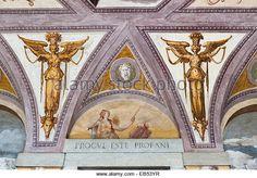 Villa Godi Malinverni, Vicenza, Italy. The frescoed entrance hall with a line from Virgil - 'keep away, you - Stock Image _BM