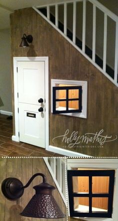 Kid playhouse under basement stairs! Dutch door, mail slot and even a window and front porch light. Kid playhouse under basement stairs! Dutch door, mail slot and even a window… Under Basement Stairs, Cupboard Under The Stairs, Basement Doors, Walkout Basement, Basement Bathroom, Stair Storage, Porch Lighting, Basement Remodeling, Basement Decorating