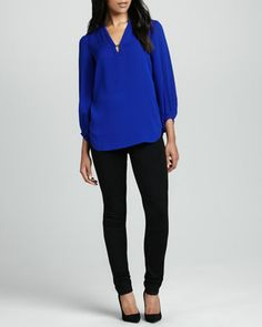 Tanyana Long-Sleeve Silk Blouse & Lena Knit Suiting Pants by Diane von Furstenberg at Neiman Marcus.