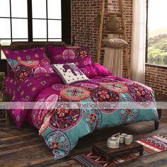 Floral Duvet Cover Sets 4 Piece Cotton Pattern Reactive Print Cotton Twin Full Queen King 1pc Duvet Cover 2pcs Shams 1pc Flat Sheet 4934465 2017 – $46.69