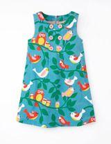 Button Pinafore Dress (Duck Egg Birdy Song)