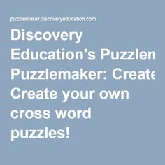 9x9 easy crossword puzzle grid 7 puzzle 22 cross word puzzles discovery educations puzzlemaker allows teachers students and parents to create online crossword puzzles for use in the classroom malvernweather Gallery