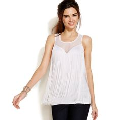 NWT White Sweetheart Fringe tank Sweetheart bust with scoop neck and long white fringe. Currently sold out. NWT! Such a fun and flirty top perfect for warm weather! INC International Concepts Tops Tank Tops