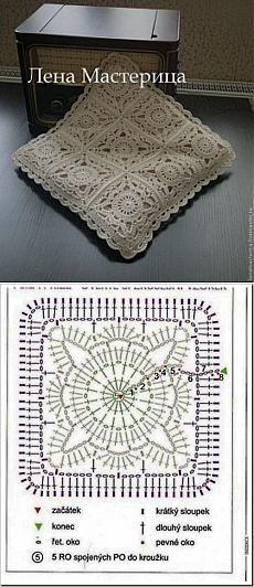 Gyönyörű négyzet motívum horgolótű navalochki a párnán - Kötés - My kopilochku