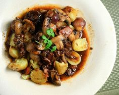 Beef Bourguignon, the classic French dish of beef stewed in wine with bacon, mushrooms and onions.