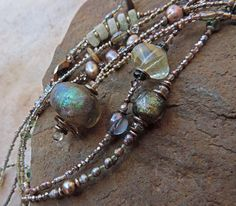 Rain and Storm Colors Basha Bead and Gemstone Extra Long Beaded Necklace Pair
