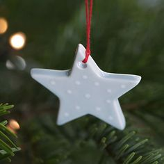 Hand Painted Ceramic Christmas Decoration - Blue/White Spot Star