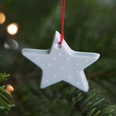 Hand Painted Ceramic Christmas Decoration - Blue/White Spot Star