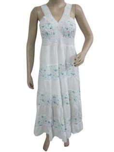 Amazon.com: Boho Dress, Bohemian Beach Dress White Blue Floral Printed Cotton Maxi Dress, Sundress: Clothing