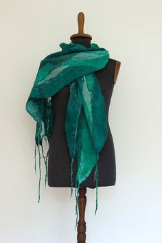 Nuno felted emerald scarf for women