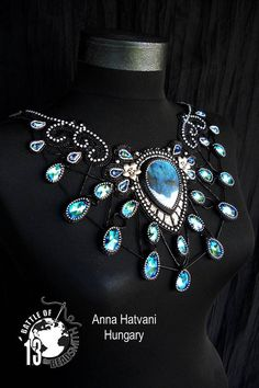Bead Embroidery Necklace  Wedding Bridal Silver Bead Embroidered Swarovski BOTB many rounds winner