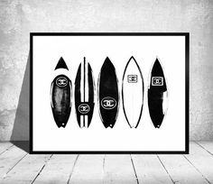 Black & White Surfboard Art Print from by ColorfulArtstudio