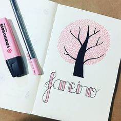 Bullet journal monthly cover page, January cover page, tree drawing, tree with heart leaves drawing.  | @studiesofm