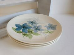 3 Blue floral dinner plates mod Vera style by TheHaystackNeedle1, $18.00