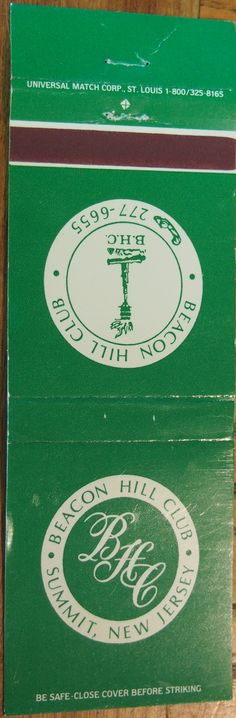 Beacon Hill Club #matchbook To order your business' own branded #matchbooks call TheMatchGroup @ 800.605.7331 or go to www.GetMatches.com today!
