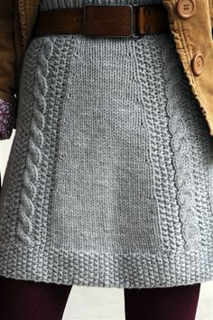 Upcycle a men's sweater into a fall knit skirt (this is actually a knitting pattern for the skirt, I'm all about taking the lazy way to get it done!)   Lady who made this and modeled it was real life sized and it looked good on her!