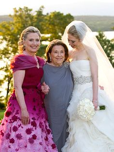 """Chelsea Clinton's Storybook Wedding - THREE GENERATIONS - The newlywed poses with her mother and grandmother, Dorothy Rodham, 91, who helped plan the joyous event. """"It was important to Hillary to share her daughter's day with her own mother,"""" says a friend."""