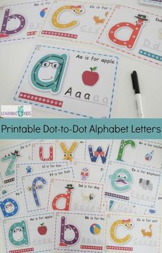 Printable Dot to Dot Alphabet Letter Charts Preschool Literacy, Preschool Letters, Learning Letters, Literacy Activities, Preschool Letter Worksheets, Home School Preschool, Learning To Write, Sight Words Printables, Free Alphabet Printables