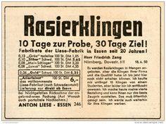 Original-Werbung/ Anzeige 1950 - RASIERKLINGEN ANTON LIESE ESSEN - ca. 100 x 70 mm