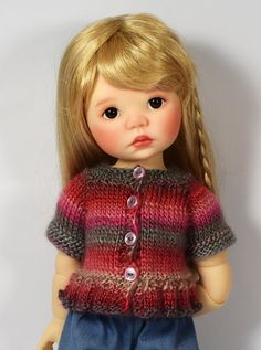 Gray, Pink and Red Sweater #1 for Saffi by Meadowdolls Maggie & Kate Create