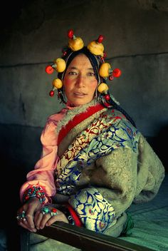 Asia | Portrait of Woman from Northern Kham, Tibet