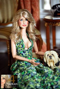 Farrah Fawcett (a repaint of a Fashion Royalty Doll by Noel Cruz of ncruz.com for myfarrah.com) relaxes with her dog Snaps in a room box by regentminiatures.com