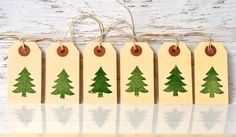 Modern Green Christmas tree gift tags. 6 set