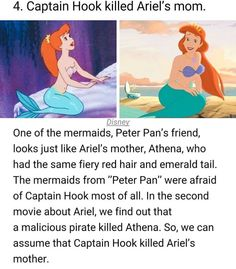 Disney conspiracy - 4 Captain Hook killed Ariel's mom Disney One of the mermaids, Peter Pan's friend, looks just like Ariel's mother, Athena, who had the same fiery red hair and emerald tail The mermaids from Peter Pan were afraid of Captain Hook most Disney Marvel, Disney Pixar, Disney Animation, Disney And Dreamworks, Disney Movies, Disney Secrets In Movies, Disney Stuff, Punk Disney, Disneyland Secrets